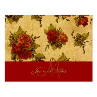 Wedding Autumn Rose Monogram Names Invitation Postcard