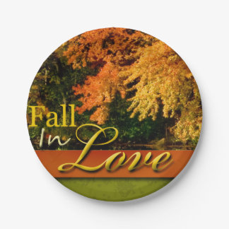 Wedding Autumn Scenic Fall In Love Foliage Photo Paper Plate