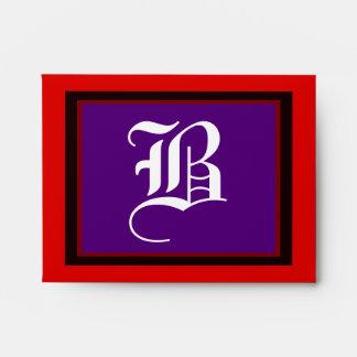 """Wedding """"B"""" White Letter Purple Red and Black Envelopes"""