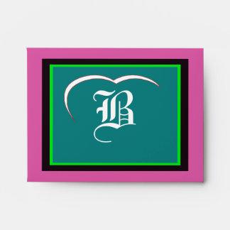 "Wedding ""B"" White White Heart  Purple Green Black Envelopes"