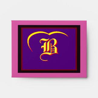 "Wedding ""B"" Yellow Yellow Heart  Purple Red Black Envelope"