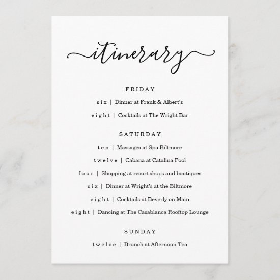 Wedding / Bachelorette Party / Birthday Itinerary Program