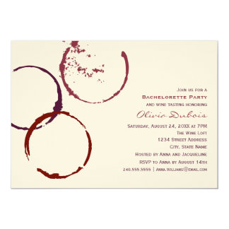 Wedding Bachelorette Party | Red Wine Theme 5x7 Paper Invitation Card