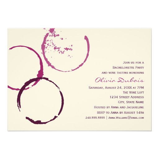Wedding Bachelorette Party | Red Wine Theme Personalized Invites