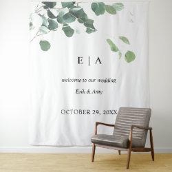 Wedding backdrop, welcome sign eucalyptus