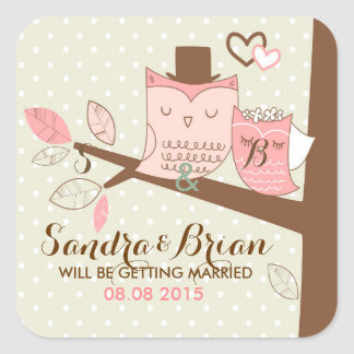 Wedding Background Cute Owl Pair On Tree-Brunch Square Sticker