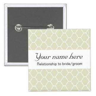 Wedding Badge (serif) Pinback Button