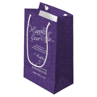 Wedding Bag Happily Ever After Purple White Lace Small Gift Bag