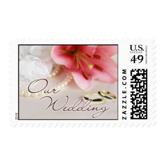 Wedding bands, lily & pearls postage stamp