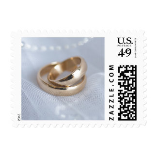 Wedding Bands On White Postage Stamp