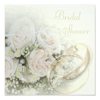Wedding Bands, Roses, Doves & Lace Bridal Shower Card