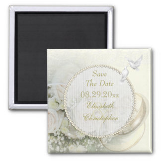 Wedding Bands, Roses, Doves & Lace Save The Date 2 Inch Square Magnet