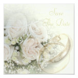 Wedding Bands, Roses, Doves & Lace Save The Date Card