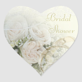 Wedding Bands, Roses & Lace Bridal Shower Heart Sticker