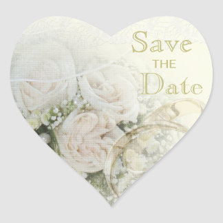 Wedding Bands, Roses & Lace Save The Date Heart Sticker