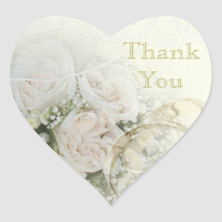 Wedding Bands, Roses & Lace Thank You Heart Sticker