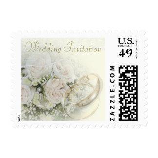 Wedding Bands, Roses & Lace Wedding Invitation Stamp