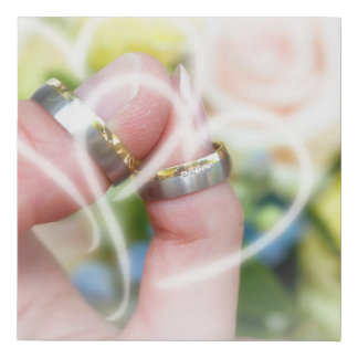 wedding bands, roses, remembrances, special, day faux canvas print