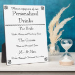 """Wedding Bar Menu Plaque<br><div class=""""desc"""">Name some drinks after the happy couple. Customize this plaque for your wedding,  shower,  rehearsal party,  etc. Easel on back for standing.</div>"""