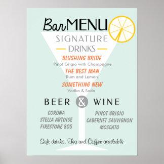 Wedding Bar sign, Cocktail signature, Drink. Poster