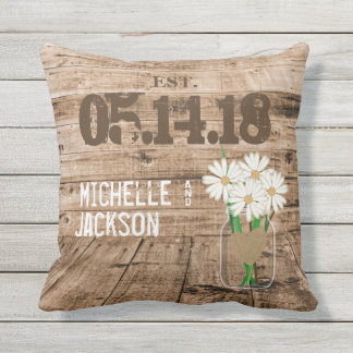 Wedding Barn Wood Design with Daisies Outdoor Pillow