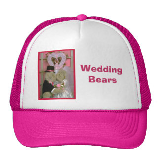 Wedding bears under a heart trucker hat