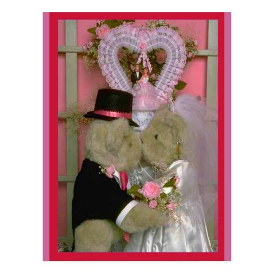 Wedding bears under a heart postcard