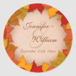 Wedding Beautiful Fall or Autumn Leaves Classic Round Sticker