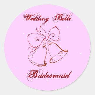 Wedding Belle Bridesmaid Classic Round Sticker