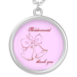 Wedding Belle Bridesmaid Thank You Round Pendant Necklace
