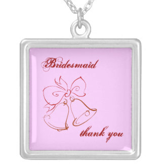 Wedding Belle Bridesmaid Thank You Square Pendant Necklace