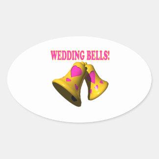 Wedding Bells 4 Oval Sticker