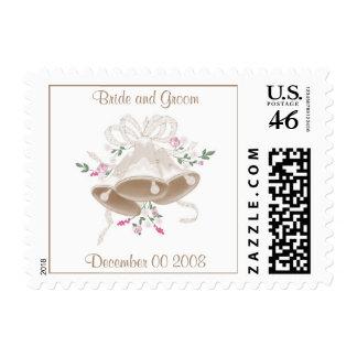 Wedding Bells Bride and Groom Postage Stamps