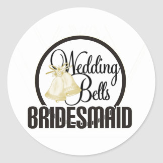 Wedding Bells Bridesmaid Classic Round Sticker