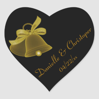 """Wedding Bells"" - Dark Gold w/ Dark Gold Bow Heart Sticker"