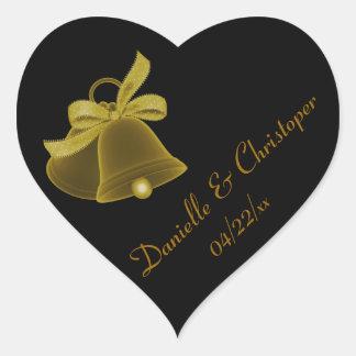 """""""Wedding Bells"""" - Dark Gold w/ Dark Gold Bow Heart Sticker"""