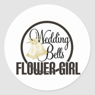 Wedding Bells Flower Girl Classic Round Sticker