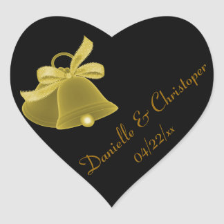 """Wedding Bells"" - Gold w/ Gold Bow Heart Sticker"