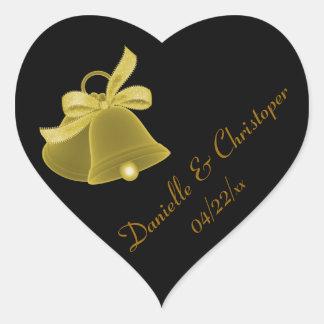"""""""Wedding Bells"""" - Gold w/ Gold Bow Heart Sticker"""