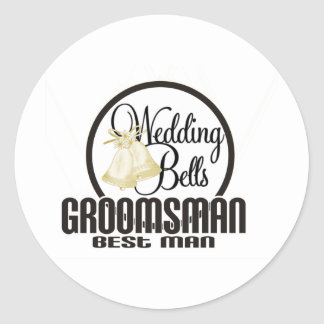 Wedding Bells Groomsman Best Man Classic Round Sticker