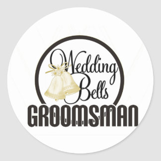 Wedding Bells Groomsman Classic Round Sticker
