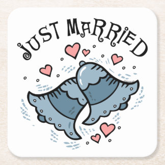 Wedding Bells Just Married Square Paper Coaster