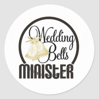 Wedding Bells Minister Classic Round Sticker