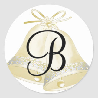 Wedding Bells Monogram B Classic Round Sticker
