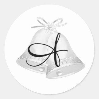 Wedding Bells Monogrammed Classic Round Sticker