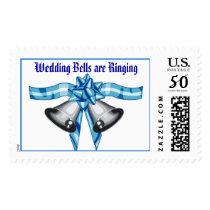 Wedding Bells on a Blue Bow (1) Joyous Ringing Postage