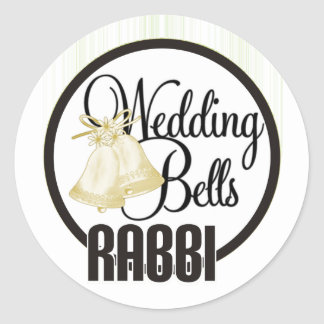 Wedding Bells Rabbi Classic Round Sticker