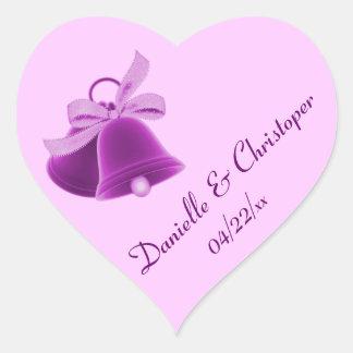 """""""Wedding Bells"""" - Rich Purple [a2] Heart Sticker"""