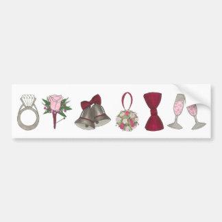 Wedding Bells Ring Champagne Bowtie Bumper Sticker