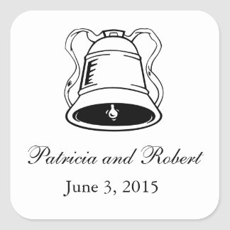 Wedding Bells   Save the Date Square Sticker